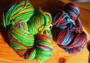 Photo of brightly coloured yarn dyed with food colouring