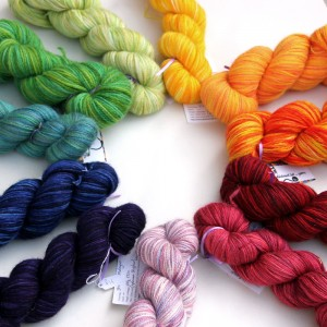 Selection of Abstract Cat hand dyed yarn arranged in a rainbow